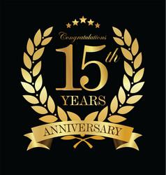 Anniversary golden laurel wreath 15 years 3 vector