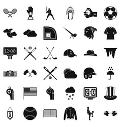 baseball player icons set simple style vector image