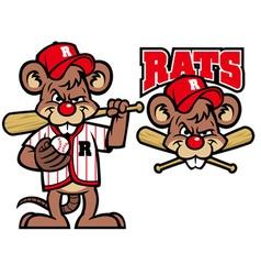 Baseball rats mascot vector