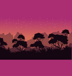 Beauty landscape rain forest silhouette collection vector