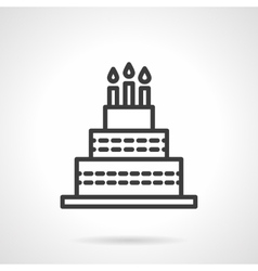 Cake with candles black line design icon vector