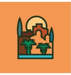 City building palm sun trees vector