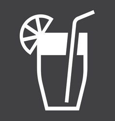 Cocktail solid icon food and drink vector