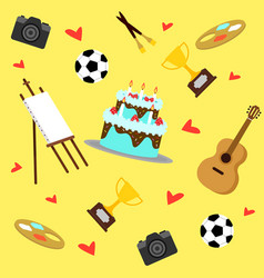 Colorful hobbies equipment pattern vector