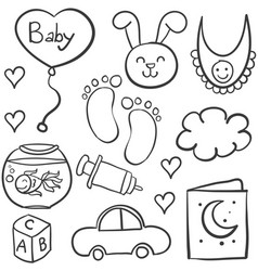 doodle of babies element collection vector image