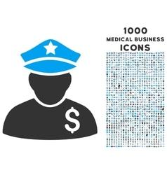 Financial policeman icon with 1000 medical vector