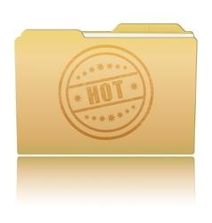 Folder with Hot damaged stamp vector image