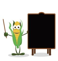 Funny Corn and a Blackboard vector image vector image
