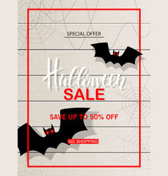 halloween sale web banner with bats on vector image vector image