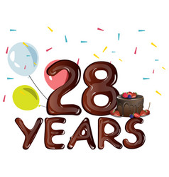 happy birthday twenty eight year vector image