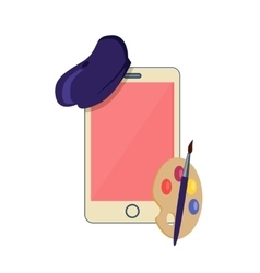 Phone to costume the artist design flat vector