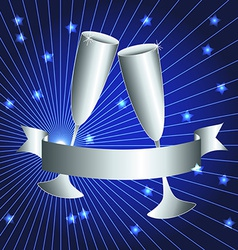 Silver cups and ribbon banner vector