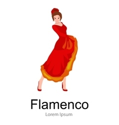 Spanish girl flamenco dancer in red dress vector image vector image