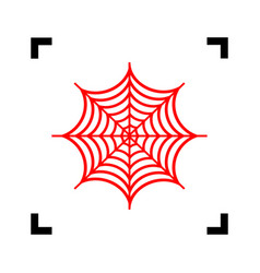 Spider on web red icon vector