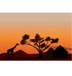 sunset in Africa vector image vector image