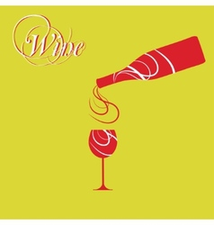 wine bottle with wine glass vector image vector image