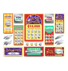 Winning scratching lottery tickets vector