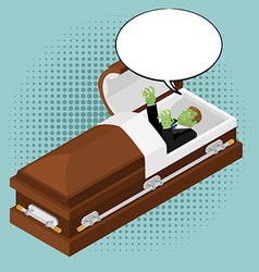 Zombies in coffin in pop art style Green dead man vector image