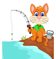 funny cat cartoon fishing in the river vector image