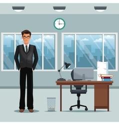 Man workplace office desk chair clock windows vector