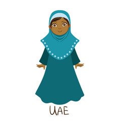 Girl in united arab emirates country national vector