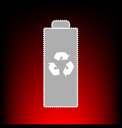 Battery recycle sign postage stamp vector