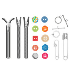 Steel metal zipper and objects for sewing vector