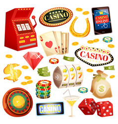 casino decorative icons set vector image