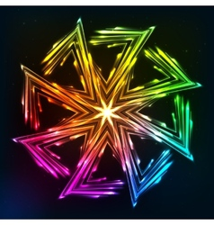 Bright neon lights sun symbol vector image