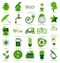 Green eco icons 3 vector
