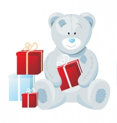 teddy bear with presents vector image