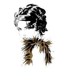 Fashion girl in sketch-style vector