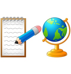 Cartoon pencil globe and paperback to school vector