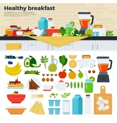 Healthy breakfast on the table in kitchen vector