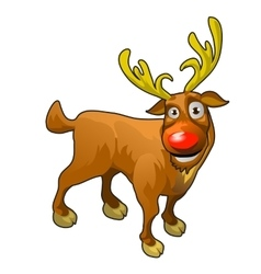 Funny cartoon reindeer with red nose vector image