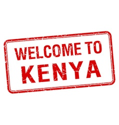 Welcome to kenya red grunge square stamp vector