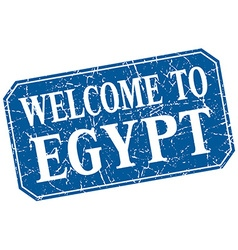 Welcome to egypt blue square grunge stamp vector