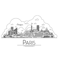 Line art paris france travel landmarks icon vector
