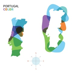 Abstract color map of portugal vector