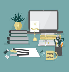 Abstract workaholic desk top icons on teal vector