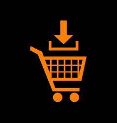 Add to shopping cart sign orange icon on black vector