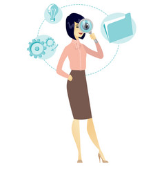 Asian business woman with magnifying glass vector