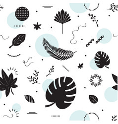 Black silhouette summer tropical leaves pattern vector