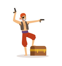 Brave pirate character with pistols and chest vector