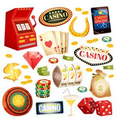casino decorative icons set vector image vector image