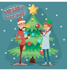 Christmas Tree Happy Smiling Male Female Geek vector image vector image