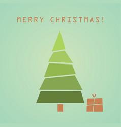 christmas tree with gift christmas card vector image