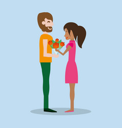 Cute couple with bouquet flowers vector