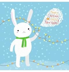 Cute white rabbit vector