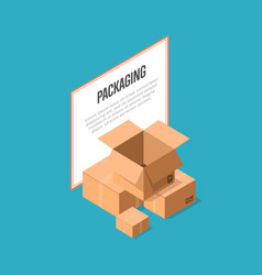 Delivery packaging boxes isometric banner vector